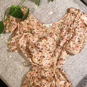 Floral Silk Banana Republic Blouse with Tie